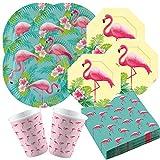 amscan 44-teiliges Party-Set Flamingo Paradise - Teller groß und klein, Becher Servietten für 8 Personen