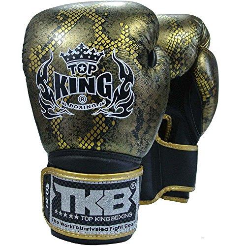 KINGTOP TOP King Boxhandschuhe, Python, schwarz-Gold, Boxing Gloves, Muay Thai, Leder Size 14 Oz