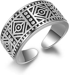Shawa Anillos de mujer y hombre, retro, ancho, de amistad, de compromiso, de plata de ley 925, con apertura ajustable