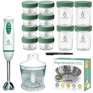 Sage Spoonfuls Baby Food Maker and Storage Set - Baby Food Blender, Universal Steamer Basket, 8 Glass 4oz Jars, 4 Glass 8oz Jars and 1 Erasable Market