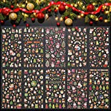 PERFETSELL 10 Blätter Weihnachtssticker Selbstklebend Weihnachten Sticker Aufkleber Glitzer Weihnachtsaufkleber Weihnachtsmann Schneeflocke Mini Xmas Aufkleber für Scrapbooking...
