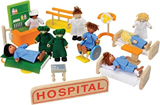 Constructive Playthings 28 pc. Wooden Hospital Play Set Including 8 Posable Wooden Figures and Furniture for Ages 3 Years and Up