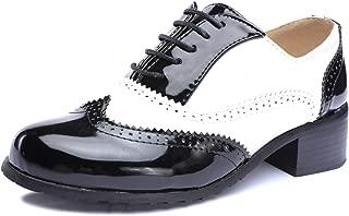 Odema Womens Classic Wingtip Brogue Lace Up Low Heel Dress Oxfords