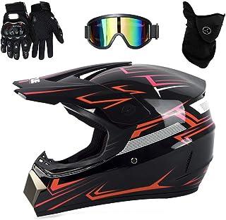 UIGJIOG Motorrad Crosshelm mit Brille (4 Stück)   Adult Motocross Helm Erwachsener Off Road Fullface MTB Helm Mopedhelm Motorradhelm für Damen Herren Sicherheit Schutz