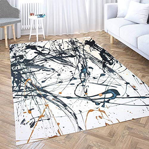 Big Area Rugs,Shorping 5X7ft Area Rug Abstract Art Creative Background Painted Modern Home Carpet,Floor Mats for Home Bedroom Carpets, and Easy to Care Carpet,Turquoise Pink