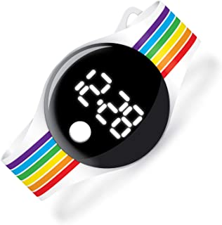 Watchitude BLIP Lightweight Digital Watch, Rainbow Stripes - Kids & Adults Watches, Simple Design, Time and Date, Fun Designs, Boys & Girls, Relojes De Niñas, Bright, Strong, Army, Rainbow, Space