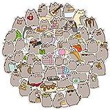 100 pegatinas de dibujos animados de gato Pusheen, impermeable, extraíble, funda con ruedas, portátil, taza de agua, monopatín, pegatinas de graffiti