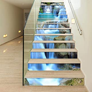ColorSpring 3D Spring Waterfall Stair Stickers Self-Adhesive Stair Stickers Home Decor 39.3inchx 7inchx 13 PCS