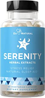Serenity Natural Sleep Aid & Anxiety Support – Drift Off & Fall Asleep Without Being Groggy – Non-Habit Sleeping Pills – M...
