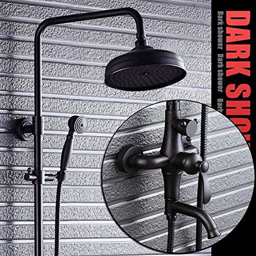 BINGFANG-W CONJUNTO Negro de bronce grifo de la ducha retro estadounidenses de pared determinados de la ducha del cuarto de baño Suministros del suministro de agua Ducha