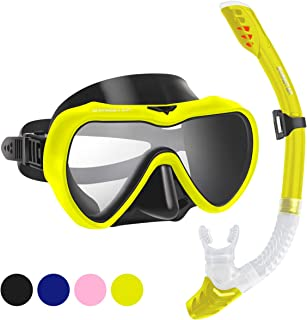 Snorkel Set for Women and Men, Anti-Fog Tempered Glass Snorkel Mask for Snorkeling,..