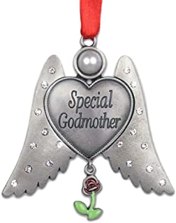 BANBERRY DESIGNS Special Godmother Ornament - Angel Wings Ornament with Rose Charm and Special Godmother Engraved - God Mom Angel