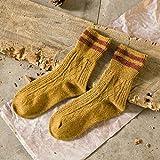 COCNI 5 Farben Neue Art & Weise Retro Wolle Frauen Socken Herbst-Winter-Wamer Cotton Mädchen Socken Weibliche japanische Schlauch-Socken-Studenten Strumpfwarepinup 5 Paare (Color : Yellow)