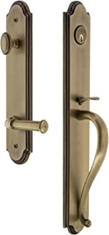 Backset Size Grandeur Hardware 841599 Fifth Avenue Tall Plate Complete Entry Set with Georgetown Lever Lifetime Brass 2.75