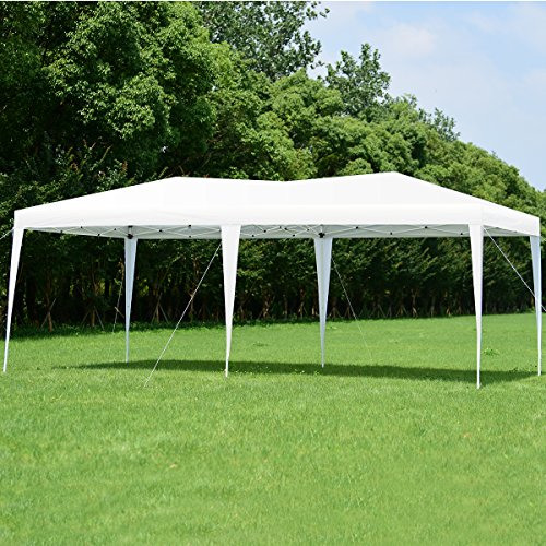 Tangkula 10 x 20 ft Outdoor Party Tent, EZ Pop Up Instant Heavy Duty Canopy Tent with Carry Bag, Suitable for Parties BBQ Wedding or Outdoor Events, Wedding Tent