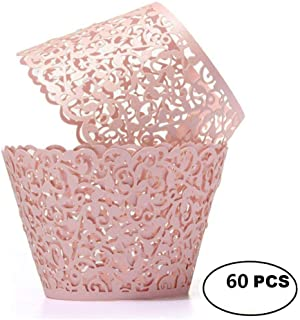 YOZATIA Vine Cupcake Wrappers, 60PCS Lace Cupcake Liners for Regular Sized Cupcake (Pink)