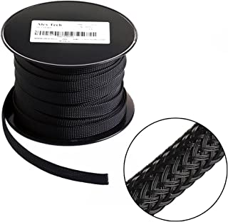 25ft - 1.5 inch Flexo PET Expandable Braided Sleeving – Black – Alex Tech Braided Cable Sleeve