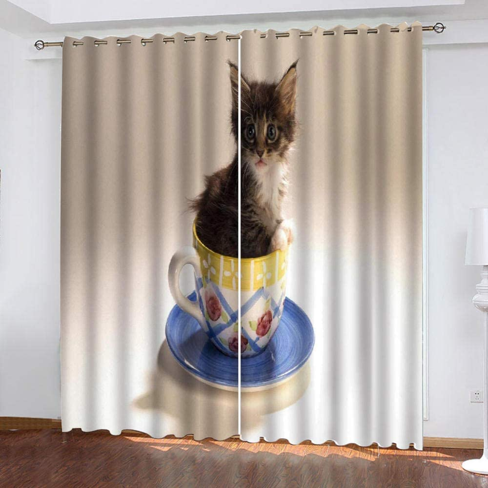 Blackout Curtains Bedroom Cute Popular product Kitten Popular overseas Room for Living