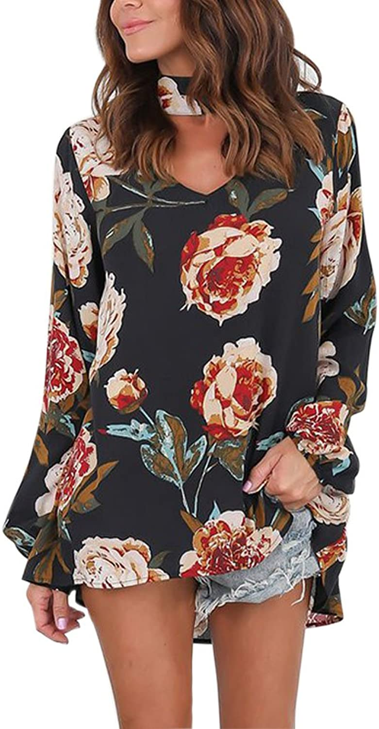 Fashion Story Womens Long Split Sleeve Choker V Neck Cutout Floral Print Blouses Tops