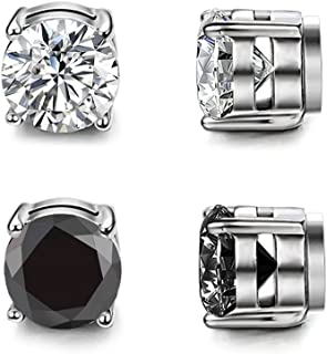 Shoopic Clear Cubic Zirconia Earrings Stainless Steel Magnetic Stud Earrings 3-12 Pairs