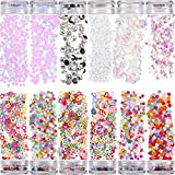 12 Pots Holographic Nail Glitter, Nail Art Sequins Glitter Kits Nail Sequins Powder Shining Flakes Laser Acrylic Manicure Paillettes Face Body Glitters for Nails Art Decoration Manicure (Colorful)