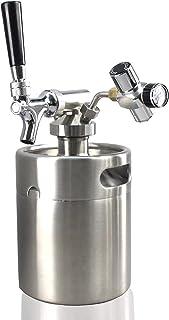 NutriChef Pressurized Growler Tap System - Stainless Steel Mini Keg Dispenser Portable Kegerator Kit - Co2 Pressure Regulator Keeps Carbonation for Craft Beer, Draft and Homebrew - PKBRTP50 (64oz)