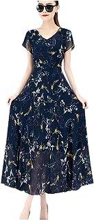 فستان صيفي للنساء بأكمام قصيرة مطبوع عليه زهور فستان طويل برقبة على شكل حرف V فستان بوهيمي نحيف