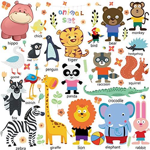 YOUKU Pegatina de Pared de Animales Pegatinas de Pared de enseñanza temprana imágenes de Dibujos Animados habitación de bebé bebé pequeño patrón Pintura de Pared decoración