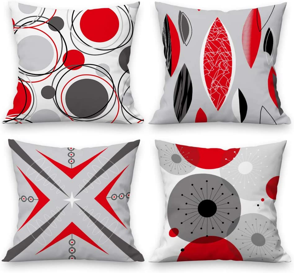 Arwomlo Modern Simple Geometric Decorative Pillow Covers 18x18 Set of 4, Red Gray Double Sided Print Pillow Cases Atomic Vintage Mid Century Square Cushion Cover for Office Sofa Couch