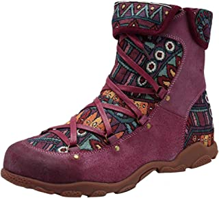 LONGDAY Ride Floral Embroidered Bootie Casual Block Mid High Heel Vintage Short BootsWomen's Rosebud Ankle Bootie