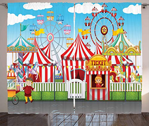 """Ambesonne Circus Curtains, Carnival Many Rides and Shops Illustration Landscape Cloudy Sky View Print, Living Room Bedroom Window Drapes 2 Panel Set, 108"""" X 84"""", Blue Red"""