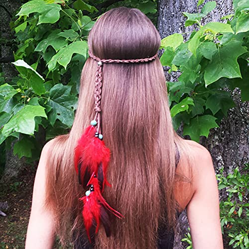 Boho Feather Headband Hippie Jewelry Gifts Native American Indian Costume Festival Hair Accessories Bohemian Gypsy Clothing Dresses for Women & Girls (Red)