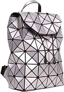 Asdfnfa Backpack, Geometric Fashion Women Backpack Luminous Ladies Rucksack Purse Fashion School Backpack Casual Daypacks Holographic (Color : Silver)