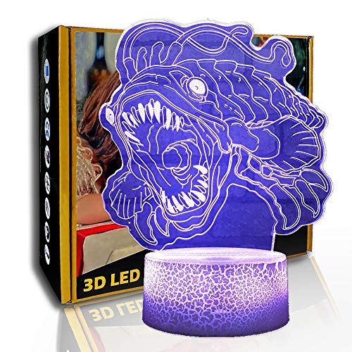 KangYD 3D Nachtlicht Fierce Piranha, LED-Illusionslampe, visuelles Licht, B - Remote Black Base (7 Farben), Atmosphärenlampe, Bunte Lichter, Valentinstag Geschenk, Optische Täuschungslampe