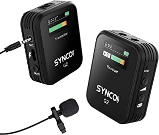 SYNCO lavalier draadloze microfoon-draadloze clip-on microfoon-draadloos G2 (A1), TFT-scherm, 2,4 GHz microfoonsysteem, au...