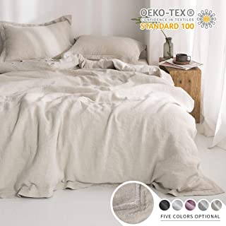 Simple&Opulence 100% Linen Pure Solid Color Embroidery Border Queen King Duvet Cover Set(Multi-Colored Options) (Full, Linen)