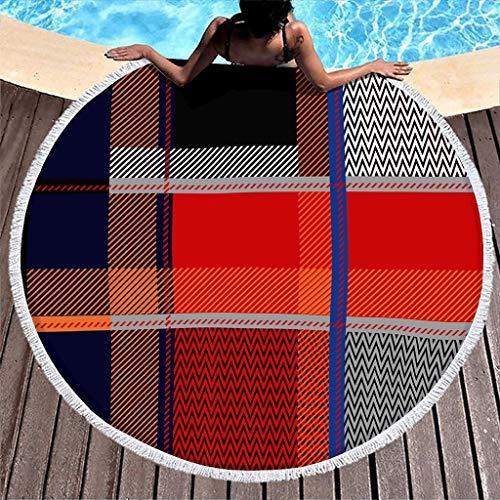 Wraill Toalla de playa redonda de tartán rojo escocés para picnic, baño, playa, vacaciones, viajes, microfibra, extra grande, con borla blanca, 150 cm