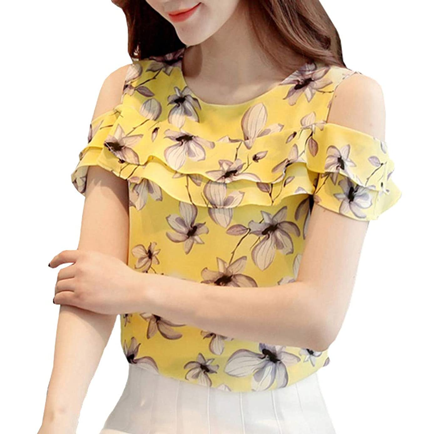 Ximandi Summer Women's Off Shoulder Ruffles Tops Casual Chiffon Floral Print Blouses Casual Korean Style Tops