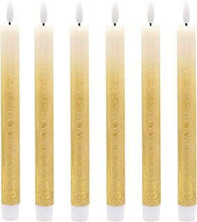 DRomance 3D Flame LED Flickering Taper Candles with 6 Hour Timer, Set of 6 Batteries Operated Flameless Taper Candles Real Wax Warm Light Christmas Decoration(0.78