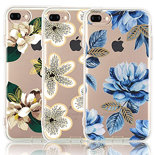 CarterLily iPhone 8 Plus Case, iPhone 7 Plus Case, [3-Pack] Watercolor Flowers Floral Pattern Soft Clear Flexible TPU Back Case for iPhone 7 Plus iPhone 8 5.5'' (Blue Flowers)