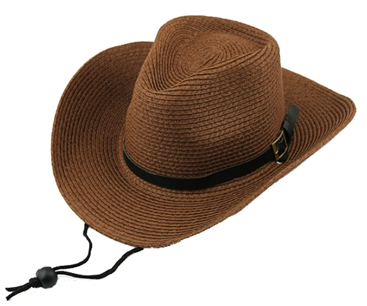 Men's Floppy Packable Straw Hat Beach Cap Classic Western Newsboy Cap Fedora Hat UPF 50+ Roll Up Foldable Large Brim Outback Sun Hat with Adjustable Chin Cord Strap Outdoor Fishing Cap Safari Hat