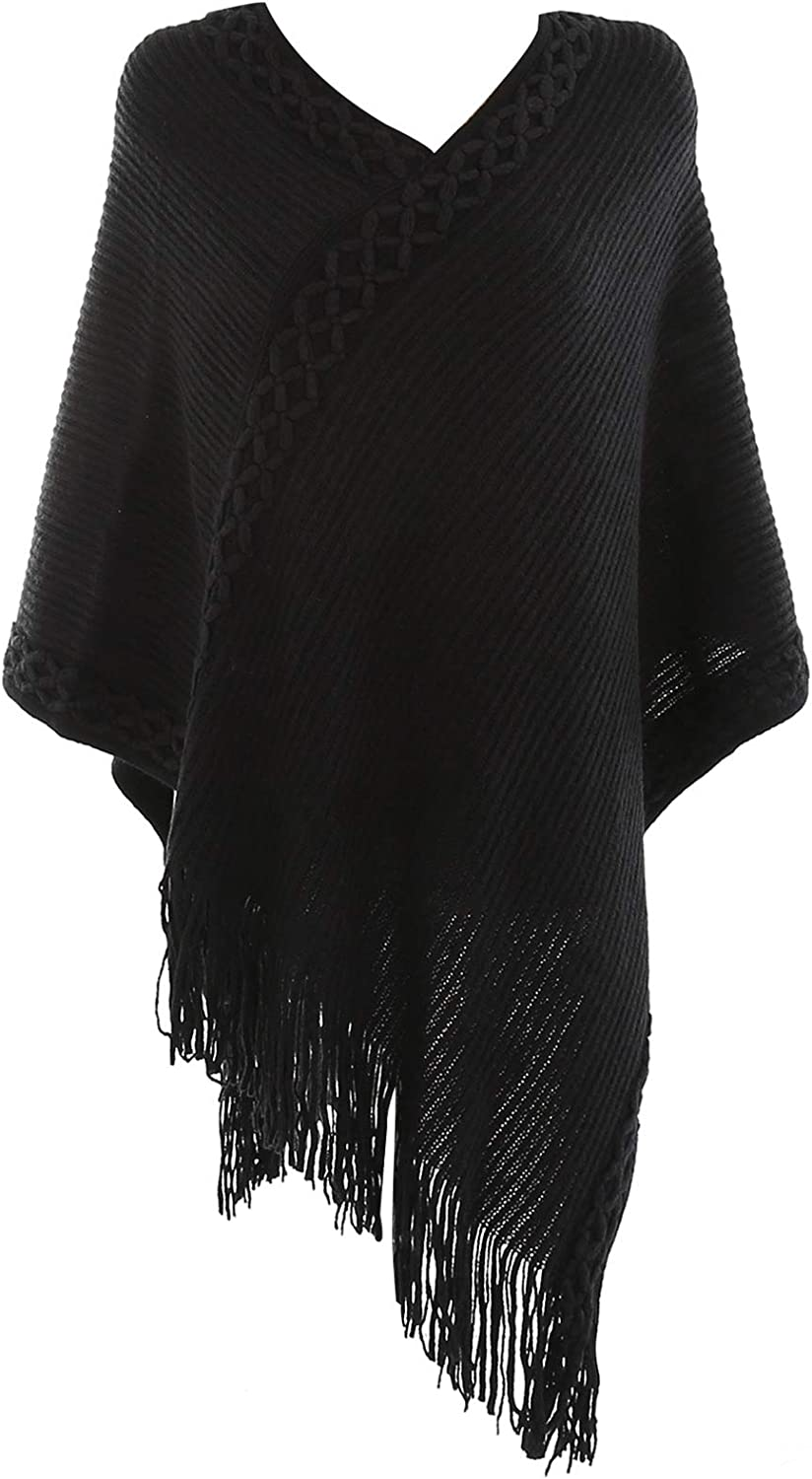 Women's Elegant Flower Pattern Knitted Shawl Batwing Blouse with Fringed Sides Black