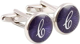 HJ Men's 2PCS Rhodium Plated Cufflinks Silver Initial Letter Shirt Wedding Business 1 Pair Set 4 Color A-Z