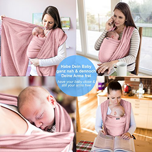 Babytragetuch aus 100% Baumwolle – Rosa – hochwertiges Baby-Tragetuch für Neugeborene und Babys bis 15 kg – inkl. Aufbewahrungsbeutel und GRATIS Baby-Lätzchen – liebevolles Design von Makimaja® - 4
