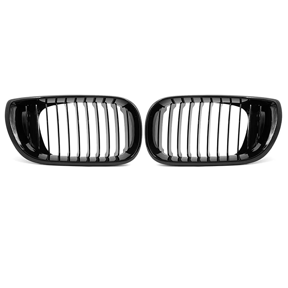uxcell 2pcs Glossy Black Front Hood Kidney Grille Grill for 2002-2005 BMW E46 4D Sedan 320i 325i 325xi 330i 330xi