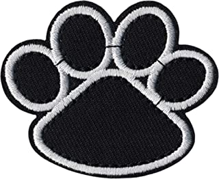 Paw Print - Black with White Trim - Embroidered Iron on Patch