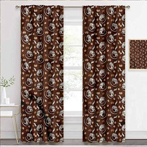 painting-home Grommet Window Curtain Coffee, Fresh Filter Drink and Cups Heat and Full Light Blocking Drapes Keeping Your Room Cool in The Summer W72 x L72 Inch