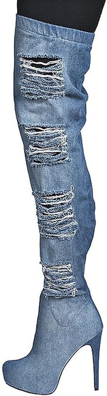 UMEXI Women's Closed Toe bluee Cowboy Hole Platform Thigh High Heel Booties