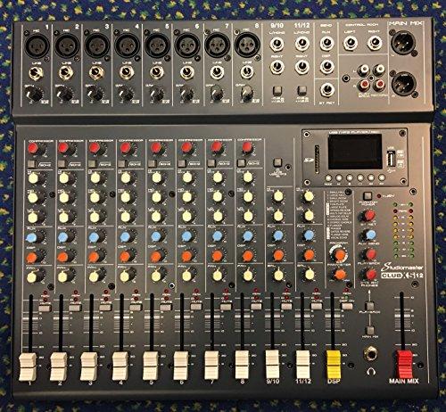 Studiomaster CLUB XS12 12-Kanal Mixer (8 Mono + 2 Stereo) mit USB, SD-Karte, Bluetooth