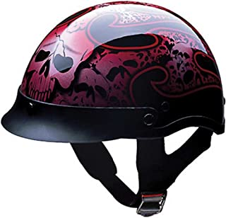XX-Large : HCI Red Tribal Skull Pattern, ABS Shell Half Motorcycle Helmet 100-132